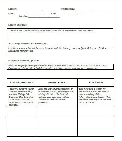 Lesson Plan Template - 9+ Free Sample, Example, Format Free