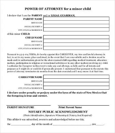 printable medical power of attorney for child - Redbul - simple power of attorney form example