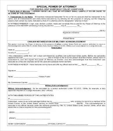 military poa form - Deanroutechoice - simple power of attorney form example