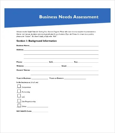 Sample Needs Assessment - 9+Free Word, PDF Documents Download Free
