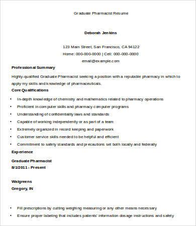 10+ Pharmacist Resume Templates - PDF, DOC Free  Premium Templates
