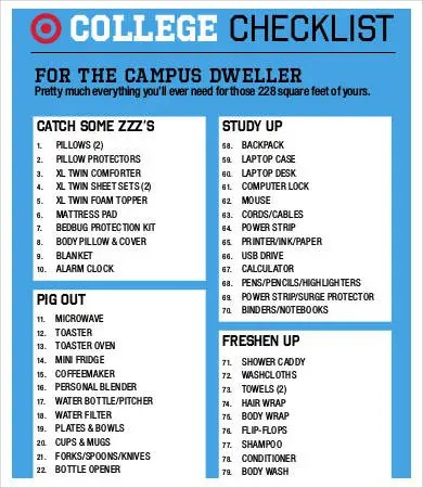 Dorm Room Checklist Templates - 7+ Free Word, PDF Documents Download