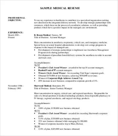 Professional Resume Samples - 9+ Free Word, PDF Documents Download - medical professional resume