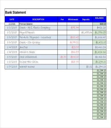 16+ Sample Bank Statement Templates - PDF, DOC Free  Premium
