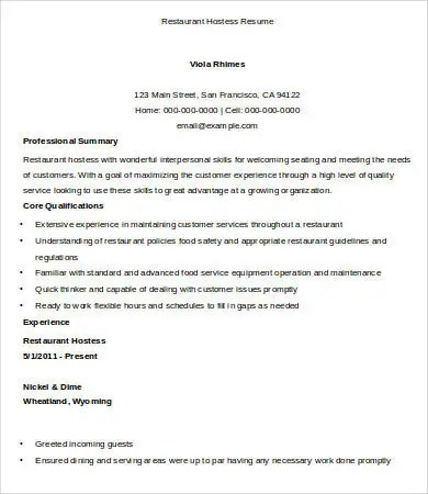 Custom Paper Writing ServiceTerm-paper host hostess resume sample - restaurant hostess resume sample