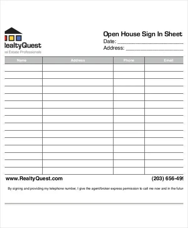 Open House Sign In Sheet Templates - 10+ Free PDF Documents Download
