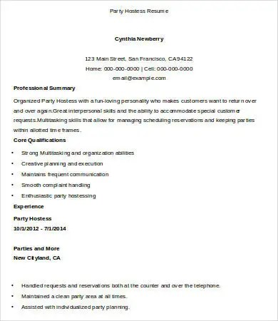 Hostess Resume Template - 9+ Free Word, PDF Documents Download - hostess resume