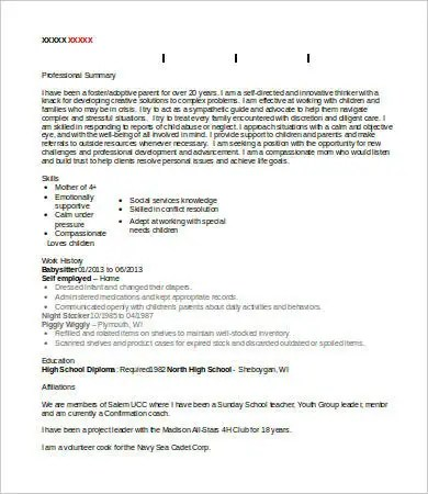 Babysitter Resume - 8+ Free Word, PDF Documents Download Free