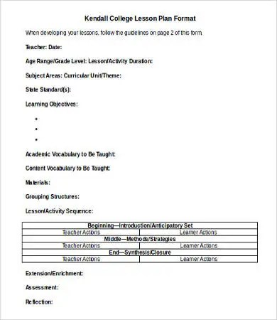 Lesson Plan Template DOC - 9+ Free Word, Documents Download Free