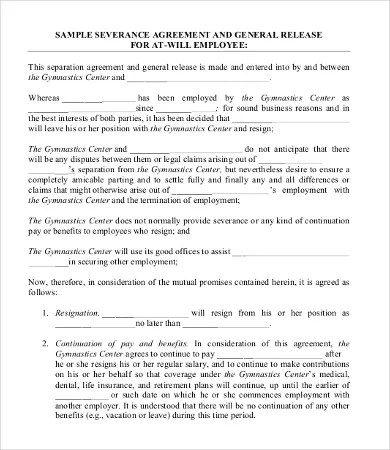 Severance Agreement Templates - 8+Free Word, PDF Documents Download