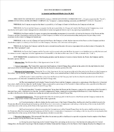 Sample Severance Agreement Executive Severance Agreement Template - sample executive agreement