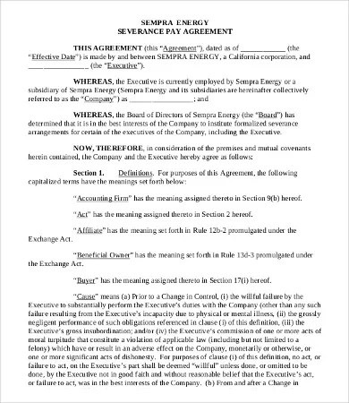 Severance Agreement Templates - 8+Free Word, PDF Documents Download - sample severance agreement
