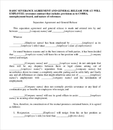 Severance Agreement Templates - 8+Free Word, PDF Documents Download - Differences Contract Agreement