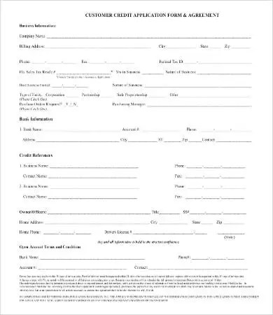 Business Credit Application Form - 11+ Free Word, PDF Documents - credit application