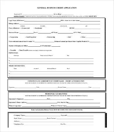 Business Credit Application Form - 11+ Free Word, PDF Documents