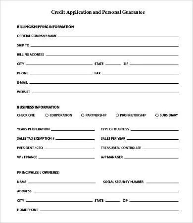Personal Guarantee Form For Business  Cv Templates New