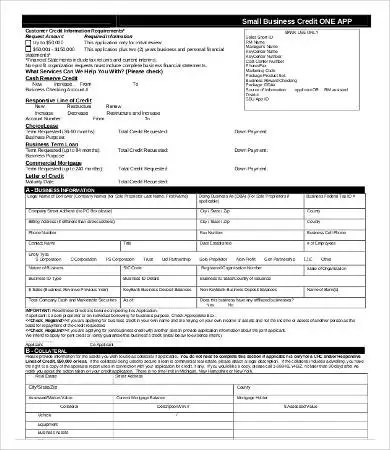 Business Credit Application Form - 11+ Free Word, PDF Documents - business application form