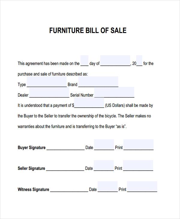Furniture Bill Of Sale Free  Premium Templates - legal bill of sale template