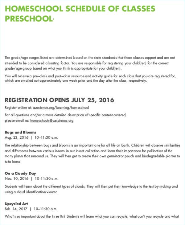 7+Homeschool Schedule Templates Free  Premium Templates - homeschool schedule template