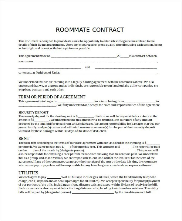 Roommate Agreement Template Sample Roommate Contract - 7+ Free - roommate agreement form