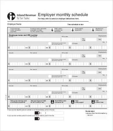 8+ Monthly Schedule Templates - Free Sample, Example, Format Free - employee monthly schedule template