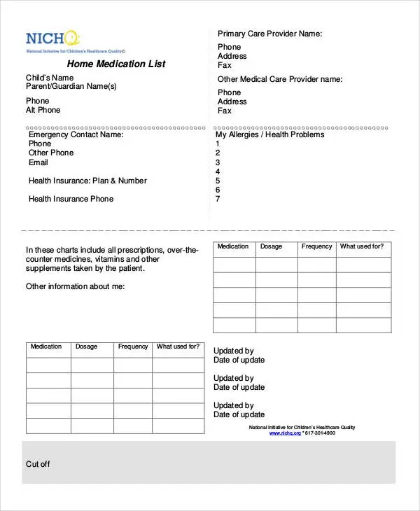 Printable Medication List - 8+ Free PDF Documents Download Free