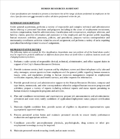 Human Resource Manager Job Description - 10+ Free Word, PDF Format - human resource job description
