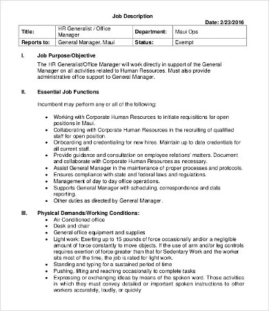 Human Resource Manager Job Description - 10+ Free Word, PDF Format - office manager job description