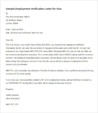 Verification of Employment Letter - 12+ Free Word, PDF Documents - example of employment verification letter