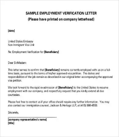 Verification of Employment Letter - 12+ Free Word, PDF Documents - examples of employment verification letters