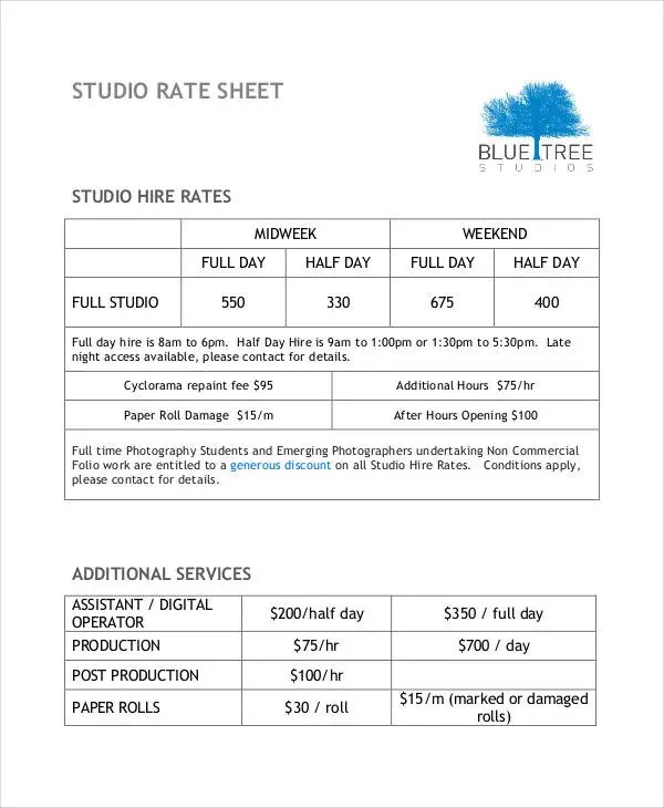 Rate Sheet Template - 10+ Free Sample, Example, Format Free - sample rate sheet template