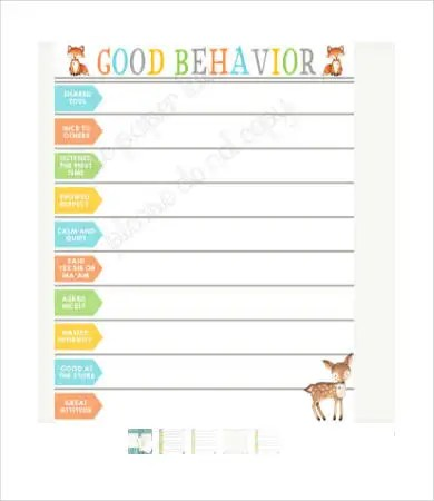Free Behavior Charts - 9+ Free PDF, PSD Documents Download Free