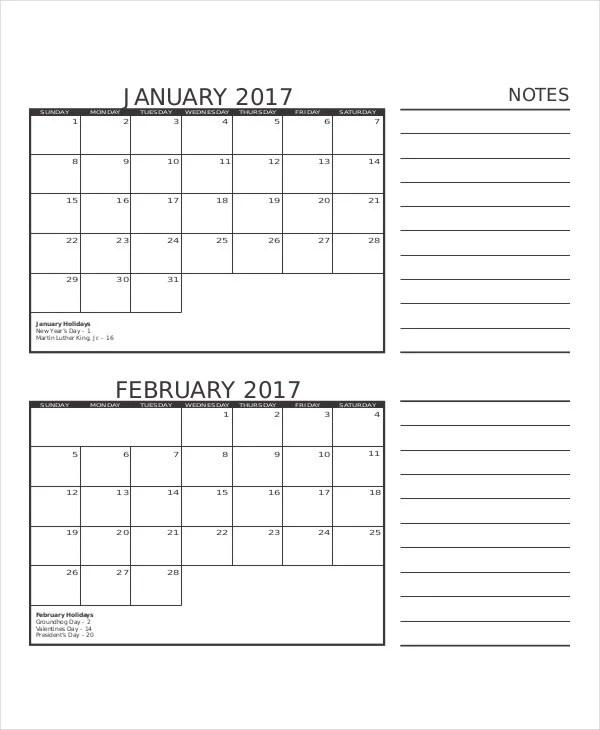 8+ Blank Printable Calendar Templates Free  Premium Templates - printable calendar template
