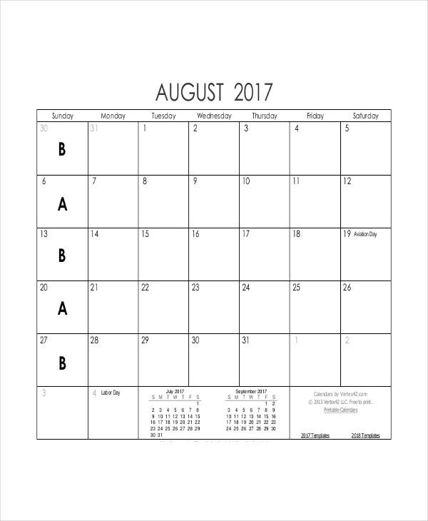 8+ Blank Printable Calendar Templates Free  Premium Templates - printable blank calendar