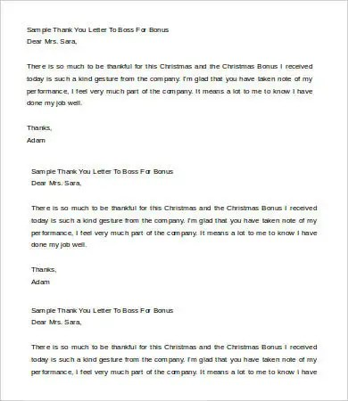 Thank You Letter To Boss - 6+ Free Word, PDF Documents Download - bonus letter template