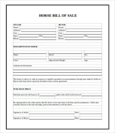 Horse Bill Of Sale Template - free horse bill of sale