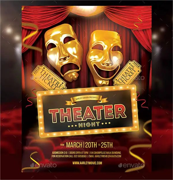 Theater Flyer Template - 9+ Free PSD, Vector AI, EPS Format - comedy show flyer template