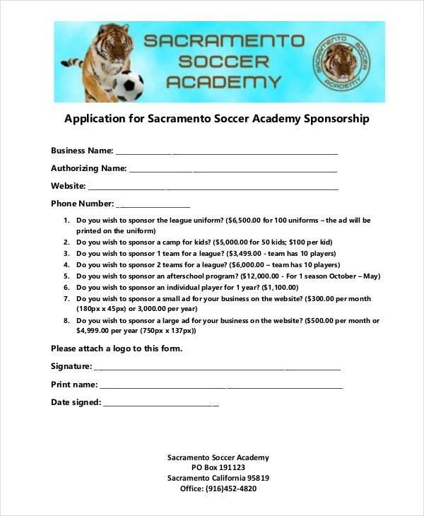 8+ Sponsorship Application Templates \u2013 Free Sample, Example, Format - free sponsor form template