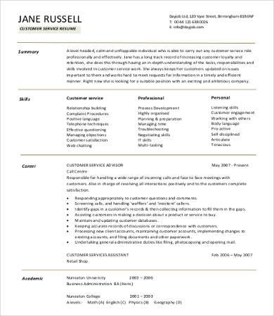Customer Service Resume Sample - congoswimorg -