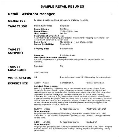 10+ Sample Retail Resume Templates - PDF, DOC Free  Premium Templates
