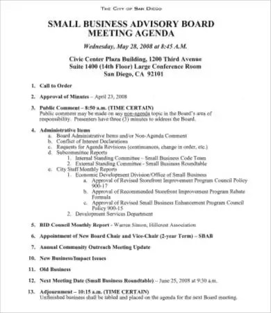 Board Meeting Agenda Template - 8+Free Word, PDF Documents Download