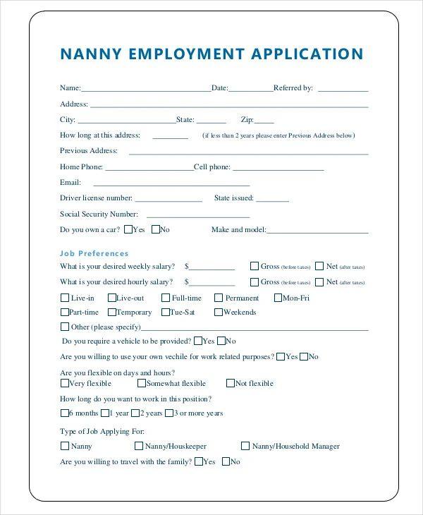 printable sample job applications