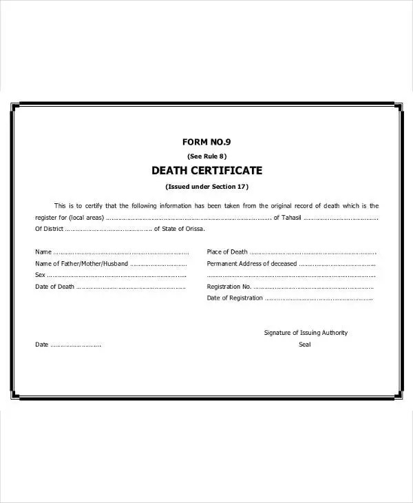 9+ Death Certificate Template \u2013 Free Sample, Example Format Download