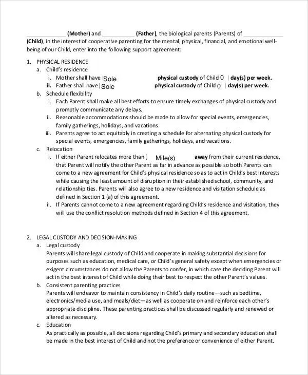 child support contract template - Acurlunamedia - it support contract template