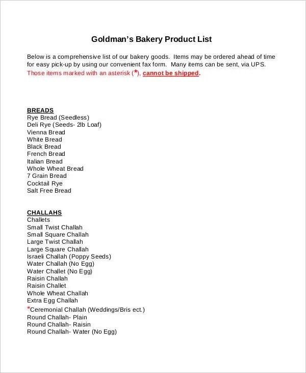 Product List Template Product List Order Template 9 Product Order - product list samples