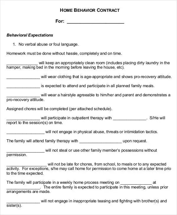 Behavior Contract Template - 9+ Free Sample, Example, Format - sample behavior contract