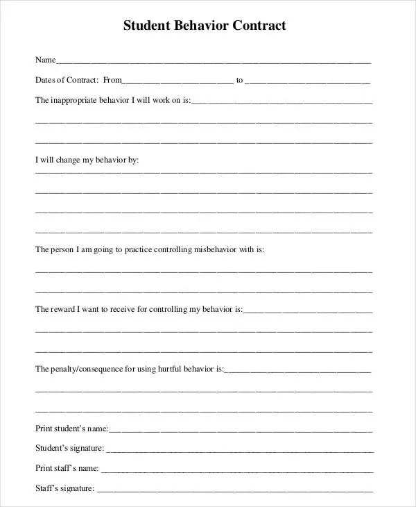 Behavior Contract Template - 11+ Free Sample, Example, Format Free
