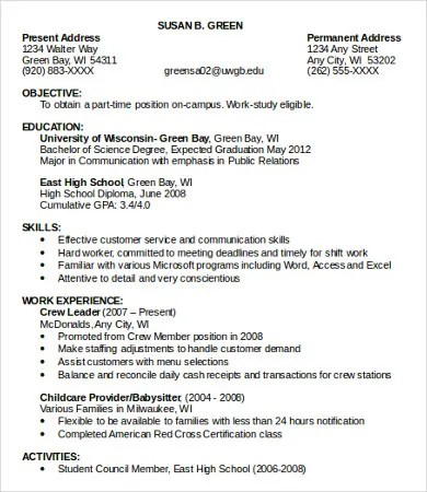 Resume For Part Time Job - job resume