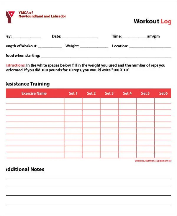 Printable Workout Log - 8+ Free PDF Documents Download Free - Weight Training Log Template
