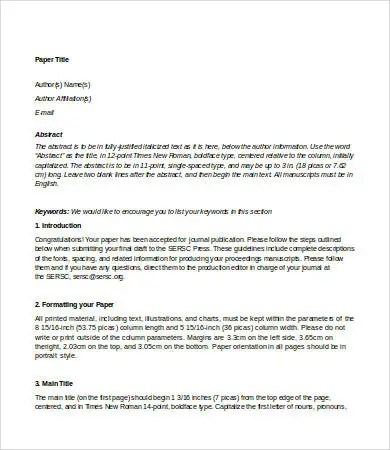 Journal Paper Template - 7+ Free Word, PDF, PSD Documents Download - journal paper template